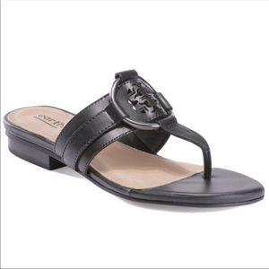 Earth | Women's Mykonos Tinos Black Leather Sandal